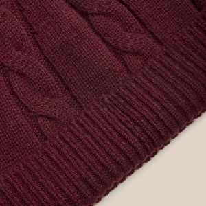 Lambswool beanie in burgundy