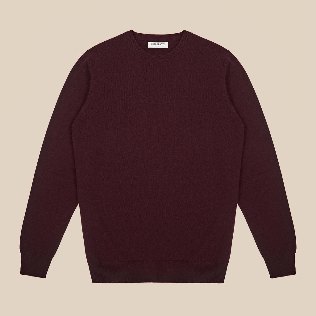 Lambswool crew neck in burgundy
