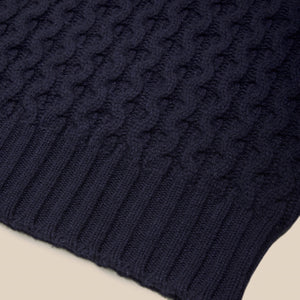 Lambswool cable knit crew neck in navy