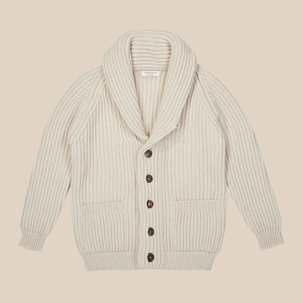 Lambswool shawl collar cardigan in ecru