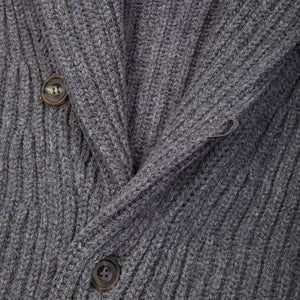 Lambswool shawl collar cardigan in grey