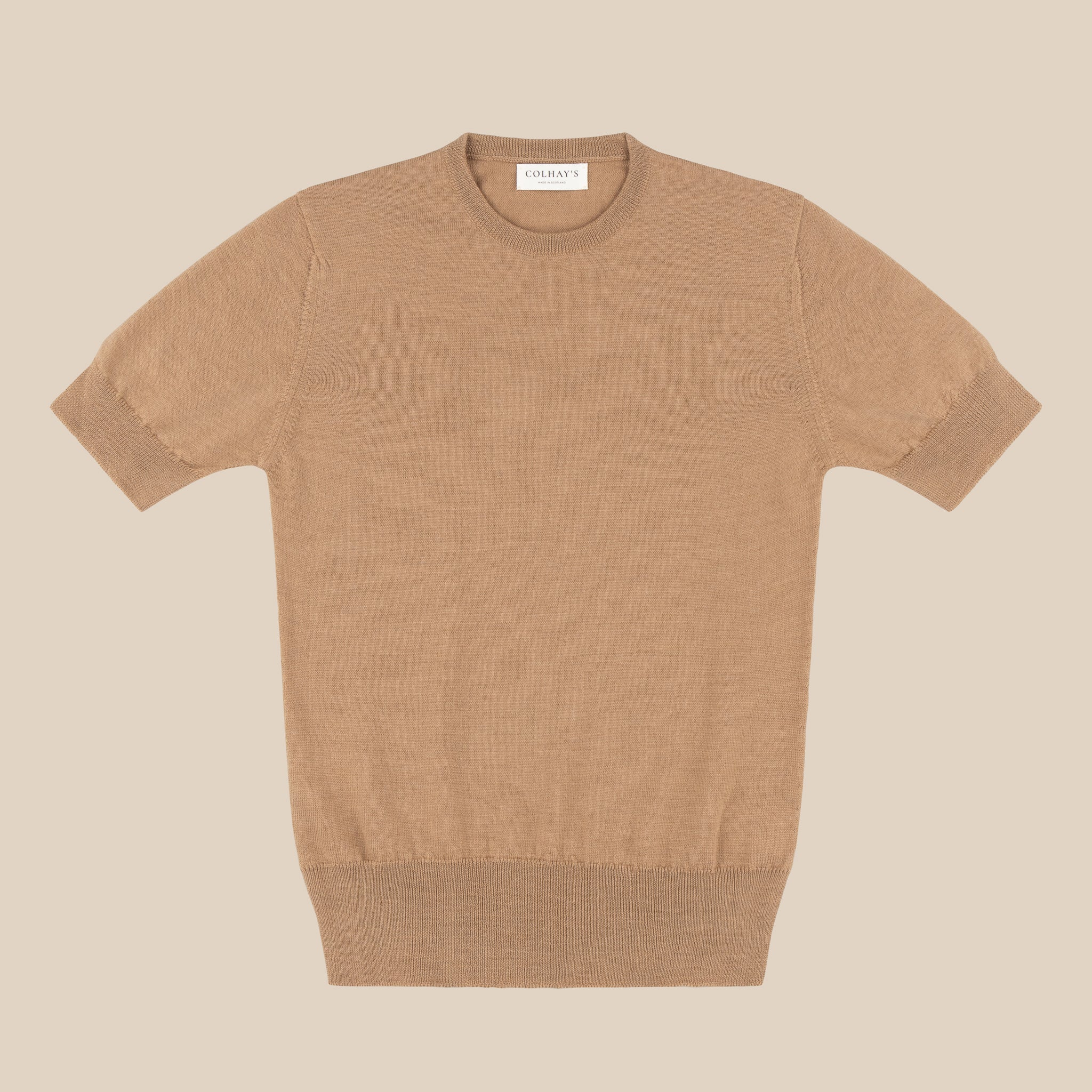 Merino sport shirt in camel
