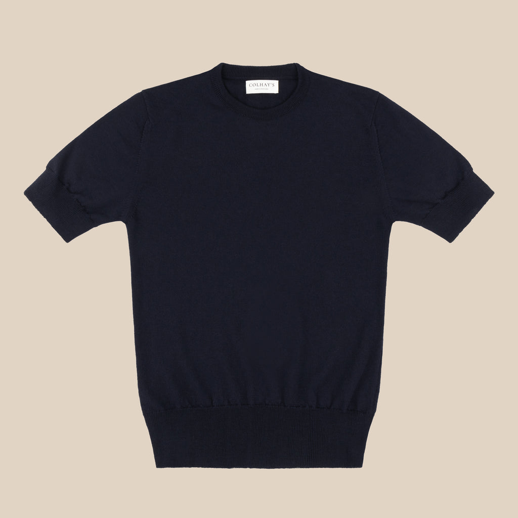 Merino sport shirt in navy