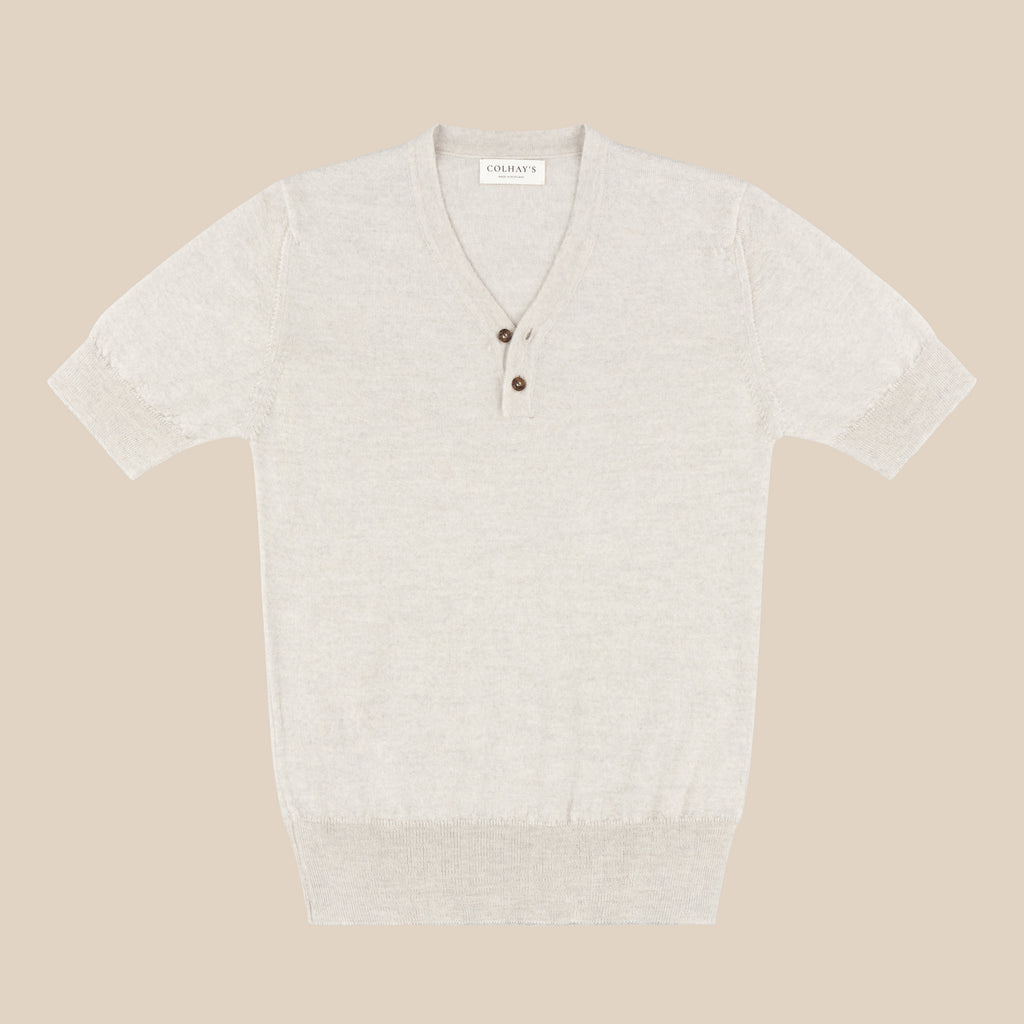 Merino rower's henley shirt in cream mélange