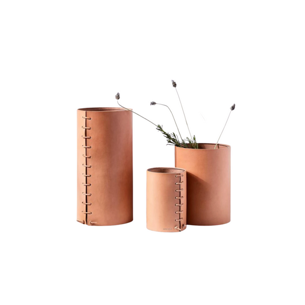 Natural Leather Wrapped Vases