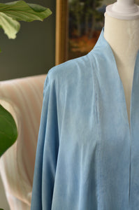Pre-order Charmeuse silk robe in 'Agua'
