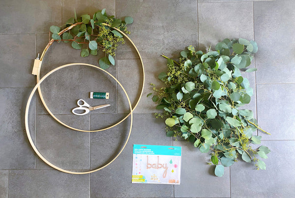 Girls Baby Shower Decoration Ideas Wooden Hoop Wreath DIY