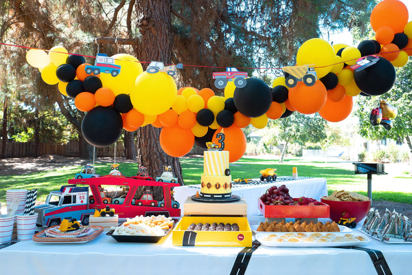 Kids_Construction_Party_Dessert_Table with Balloon Garland