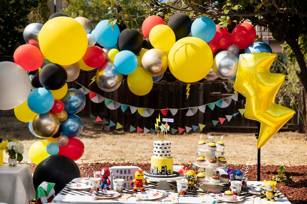 Boys Lightning Bolt Inspired Superhero Birthday Party Decoration Ideas