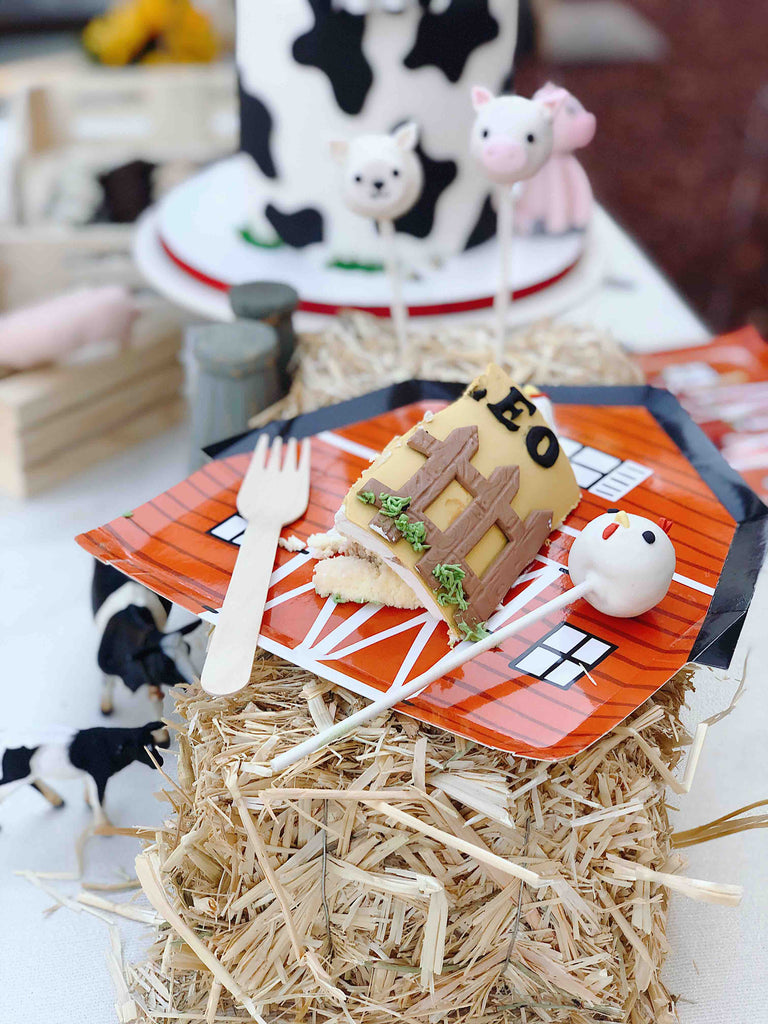 Barn House Plate with a slice of farm themed cake and cake pops for a kids farm birthday party