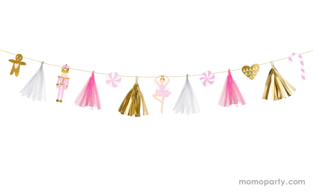 Party Deco 7.5ft Pink Christmas Paper Garland featuring gingerbread man, nutcracker, and peppermint designs with gold, white and pink tassels