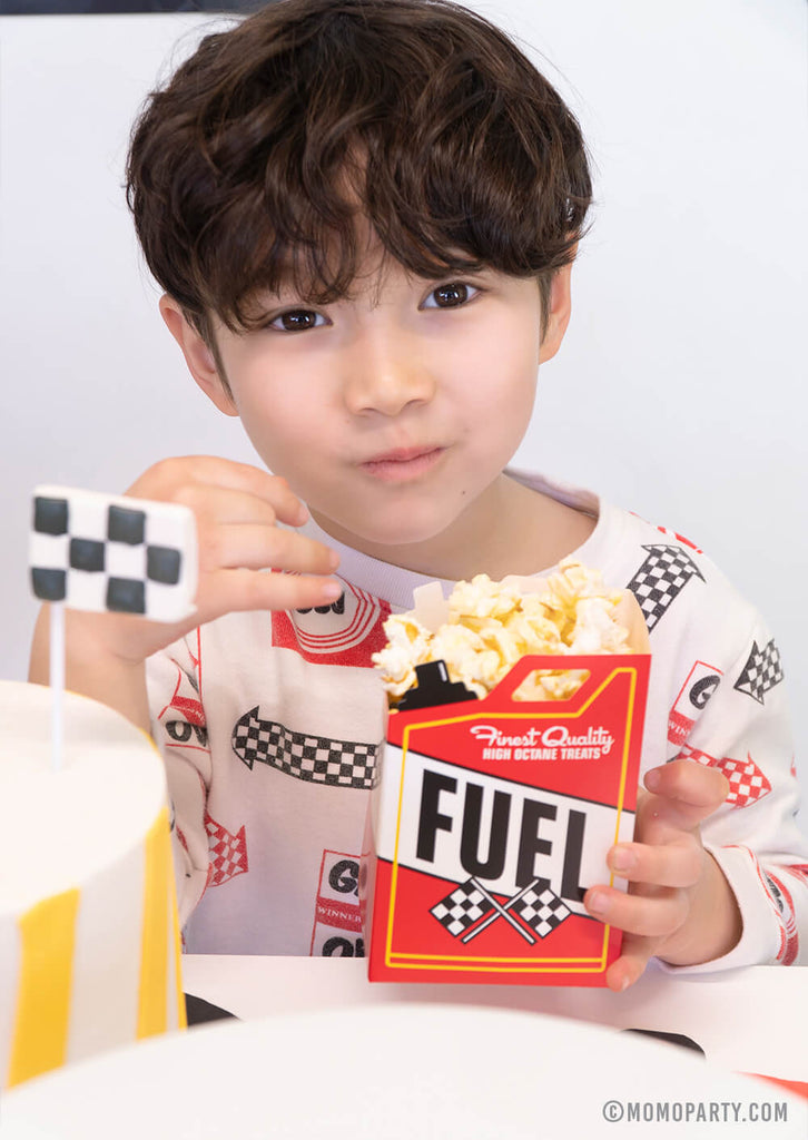 Fuel Treat Box with popcorn for Kid's Race Car Themed Party