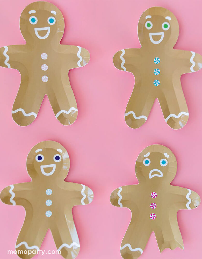Jollity & Co Gingerbread Man Die-cut shaped Plates with pink background for a fun christmas celebration