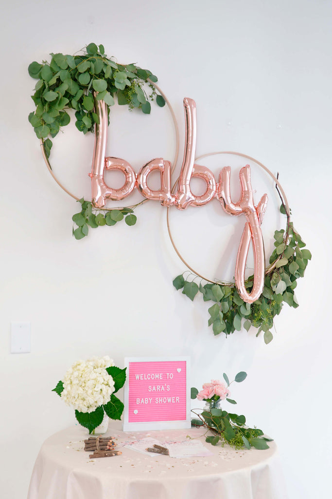 Girls Baby Shower Decoration Wooden Hoop Wreath For A Welcome Table
