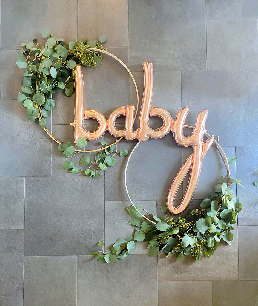 Girls Baby Shower Decoration Ideas Wooden Hoop Wreath DIY_Final Step