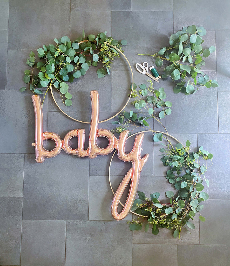 Girls Baby Shower Decoration Ideas Wooden Hoop Wreath DIY_Step 3_Layout