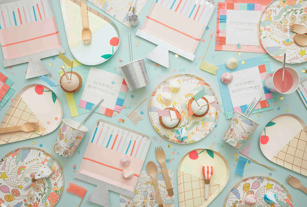 Meri Meri Birthday Collection with Birthday Cake Plates, colorful fringe napkins and ice cream plates for a festive birthday party