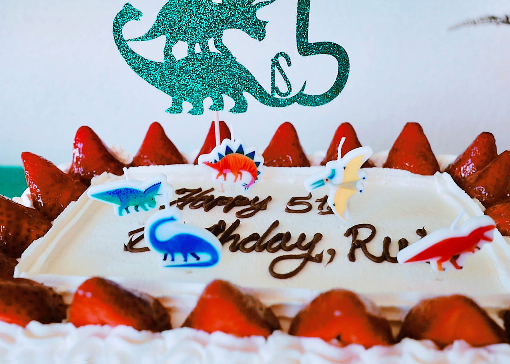 Dinosaur Cake with Dinosaur Shaped Candles