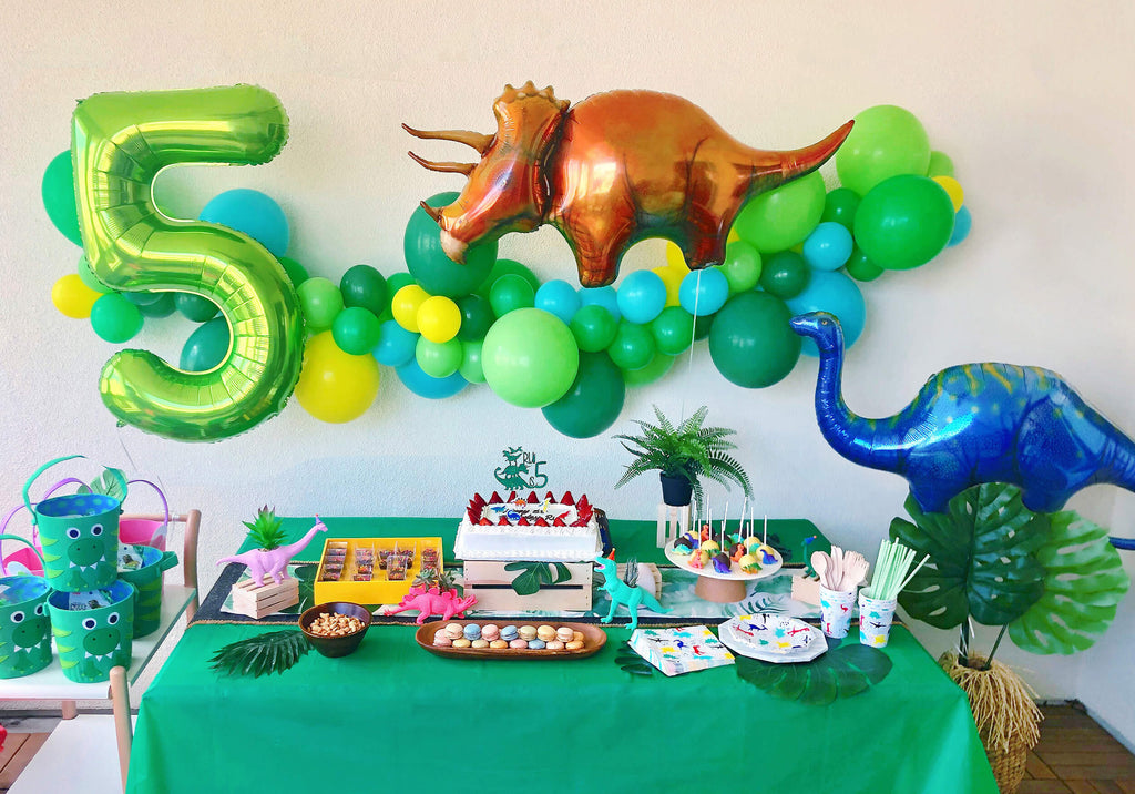 Kids Dinosaur Themed Birthday Party Dessert Table Set Up Decorations