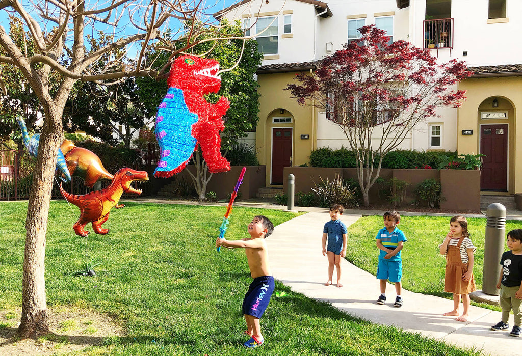 Dinosaur Birthday Party Outdoor Activities Piñata Time