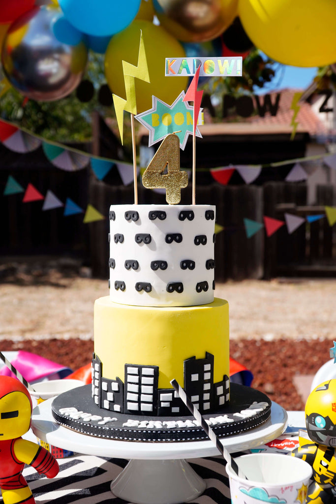 Boys Superhero Birthday Party_Birthday Cake Ideas with City Skyline and Hero Masks