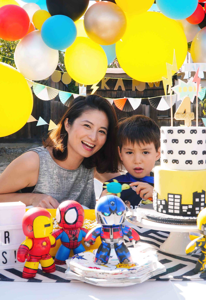 Kids Lightning Bolt Inspired Superhero Party_Mom and Boy