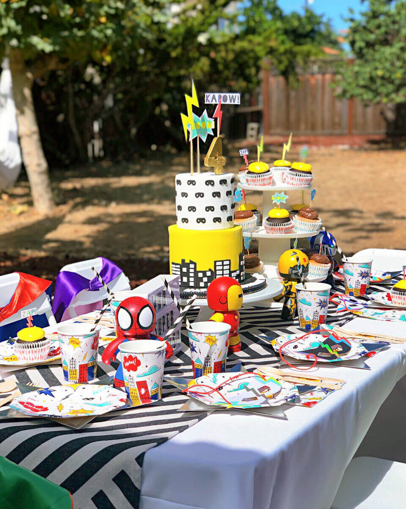 Boys Lightning Bolt Inspired Superhero Party_Table Set Up By Momo Party