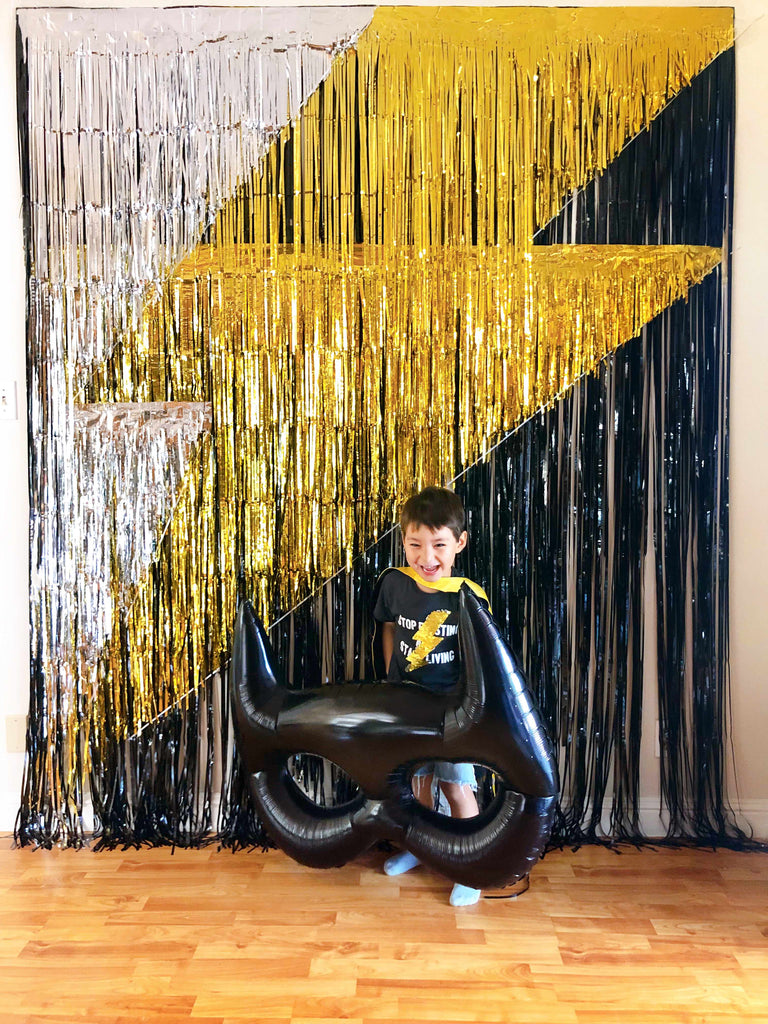 Lightning Bolt Inspired Boys Superhero Party_Photo Booth Backdrop by Momo Party