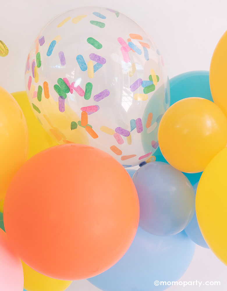 Festive colorful Balloon Garland for a Good vibes only themed party by Momo Party