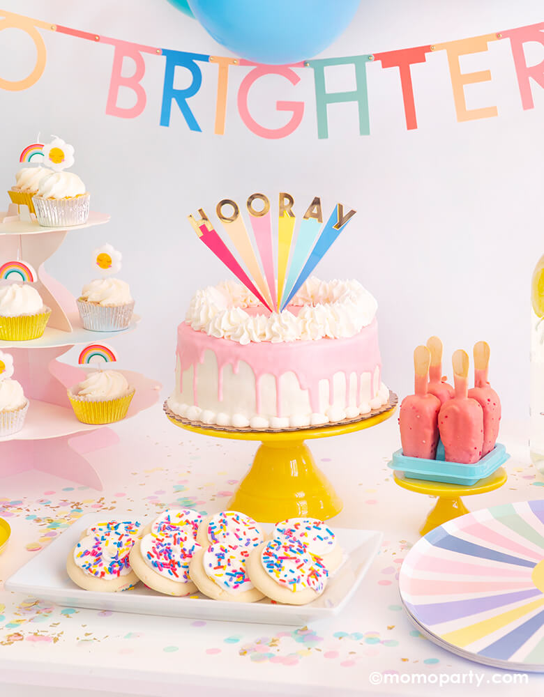 Hooray-cake-topper for a brighter days ahead good vibes themed party