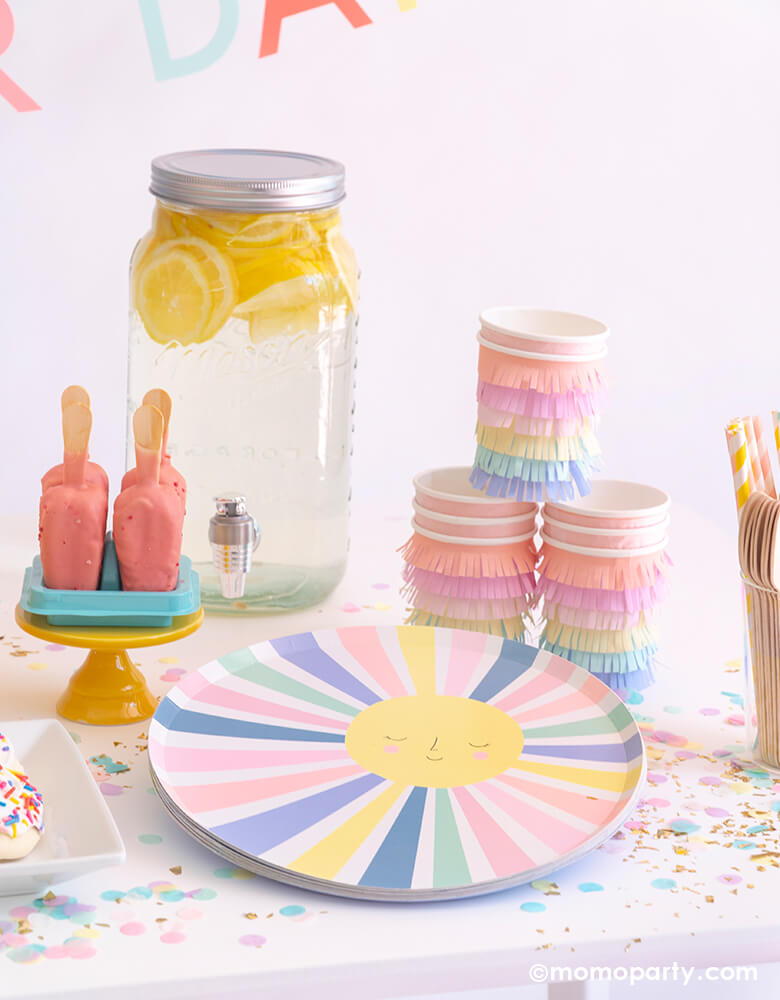 Rainbow-Sun-Plates and rainbow fringe cups for a good vibes happy day themed party by Momo Party