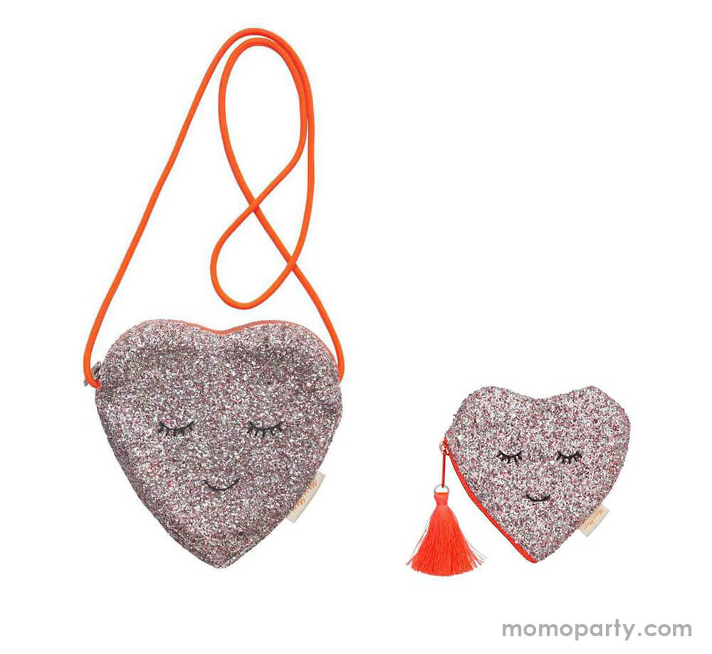 Meri Meri Glitter Heart Bag with Neon Colored Strip and Glitter Heart Coin Purse. They are perfect for little girl's Valentine's Day gift