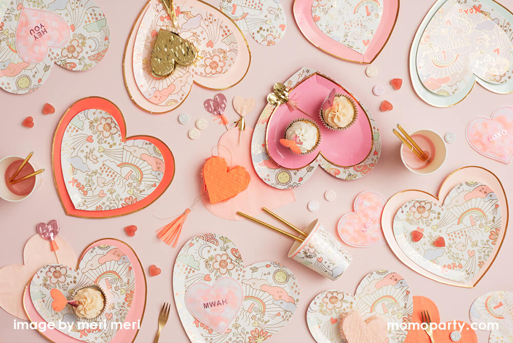 Valentine's Day Tablesetting Ideas with Heart shaped plates napkins and cups with love notes by Momo Party