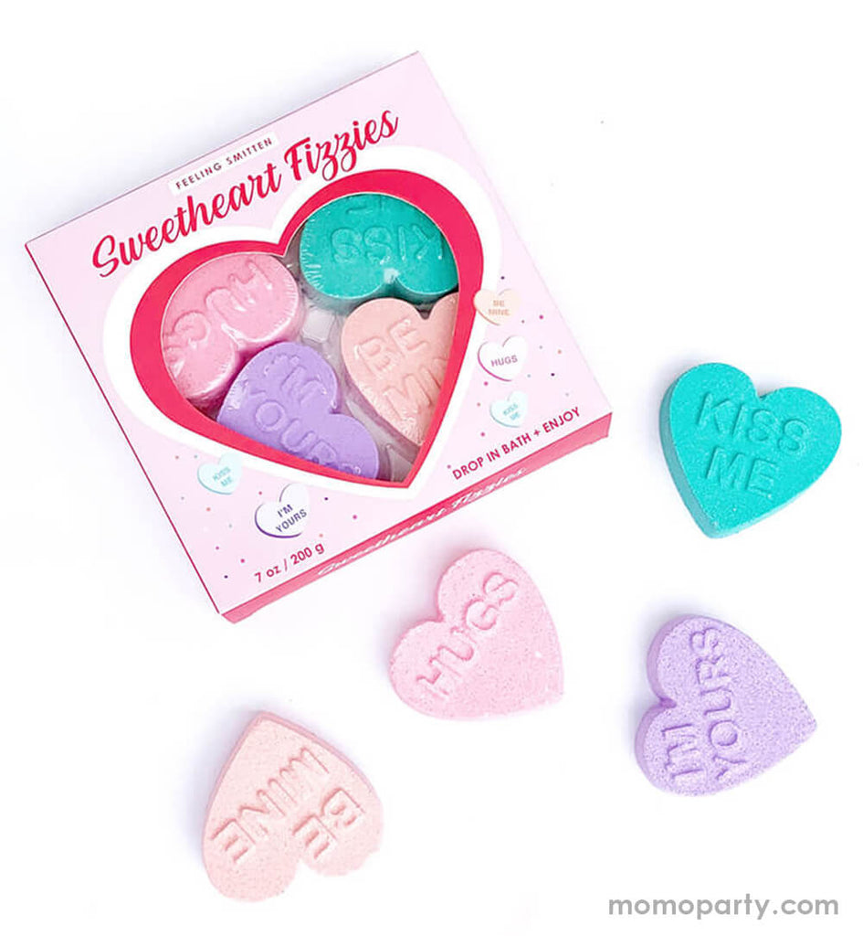 "Feeling-Smitten, Valentine Sweetheart Fizzies Gift Set. Featuring a box with 4 pack of conversation heart shaped fizzy bath treats with ""kiss me"" ""hugs""""be mine""""i Miss you"" text on the heart. Treat your sweetheart or someone you love to a six pack of fizzy bath treats!"