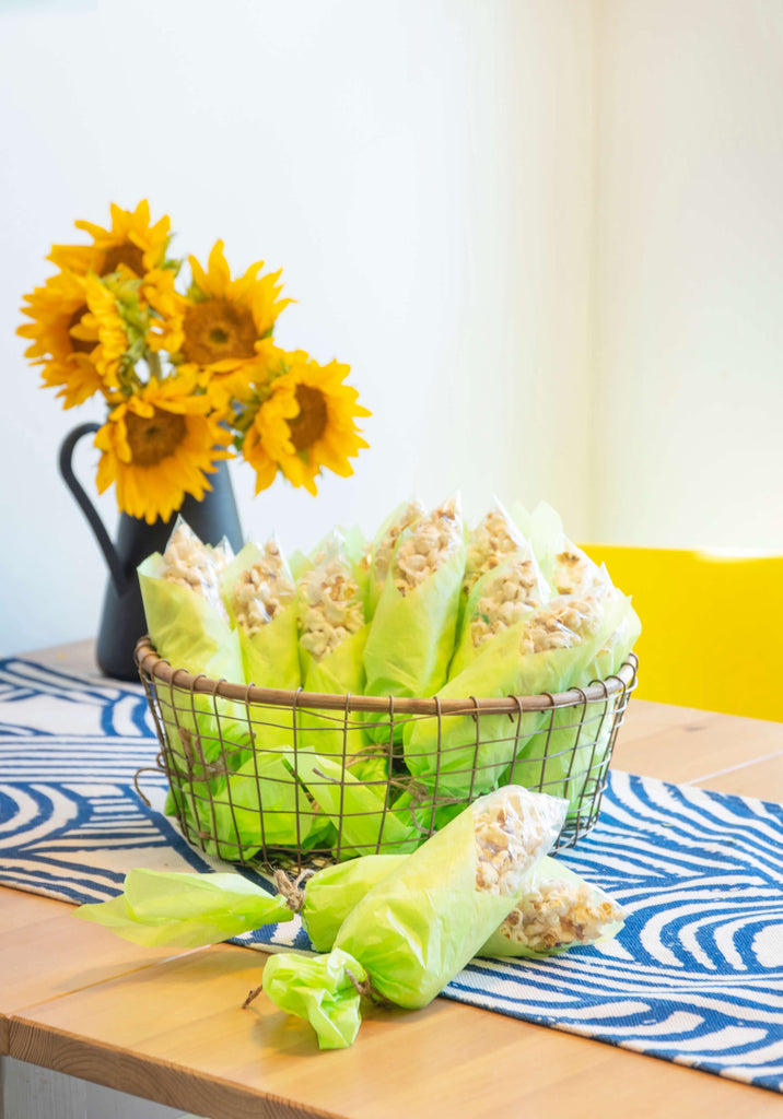 Corn on the cob popcorn treat bags for a farm birthday party