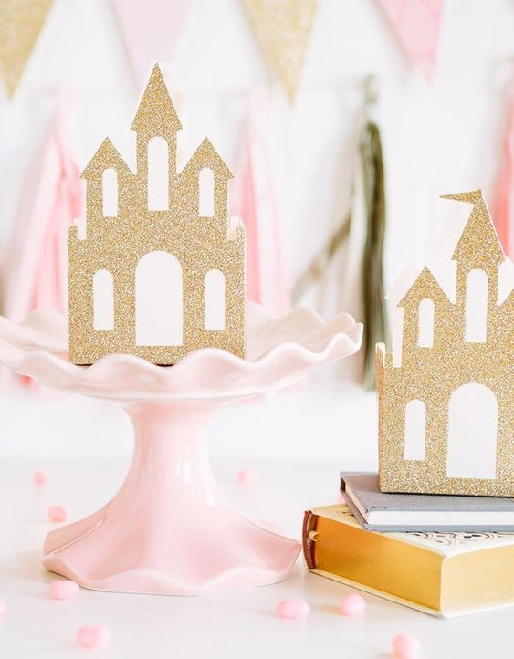 Princess Castle Favor Boxes for a princess themed birthday party