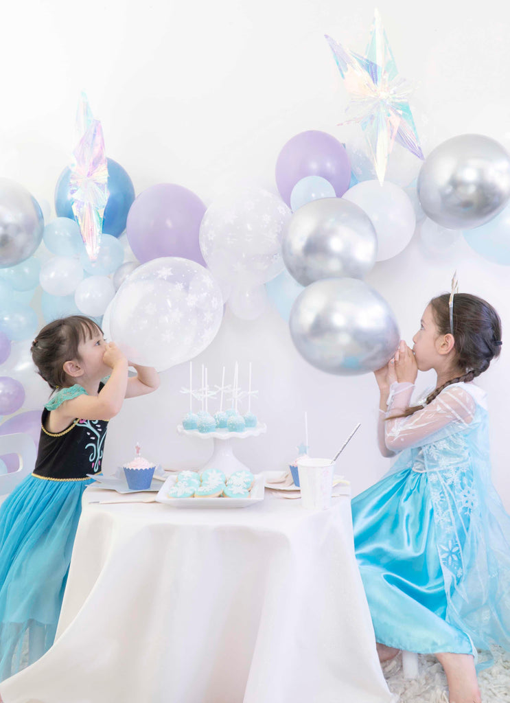 Girls Frozen Themed Birthday Party celebration ideas with balloons