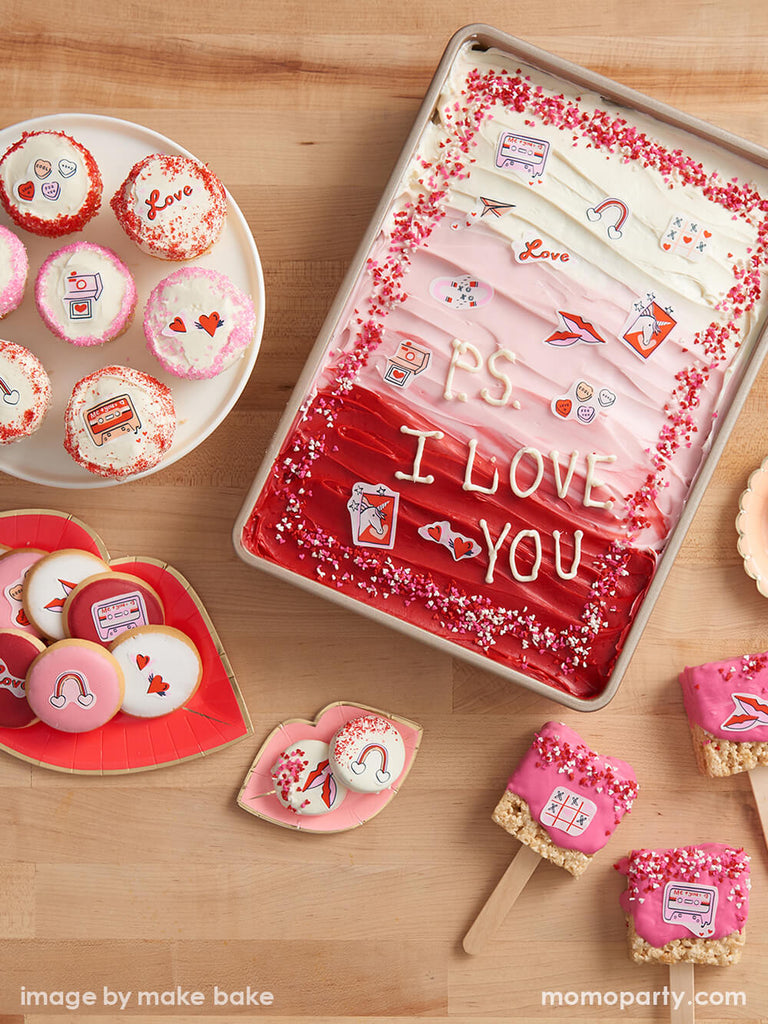 Valentine's Day Party Treats Ideas by Momo Party Featuring Edible Decorating Stickers in Heart Lips XOXO Design
