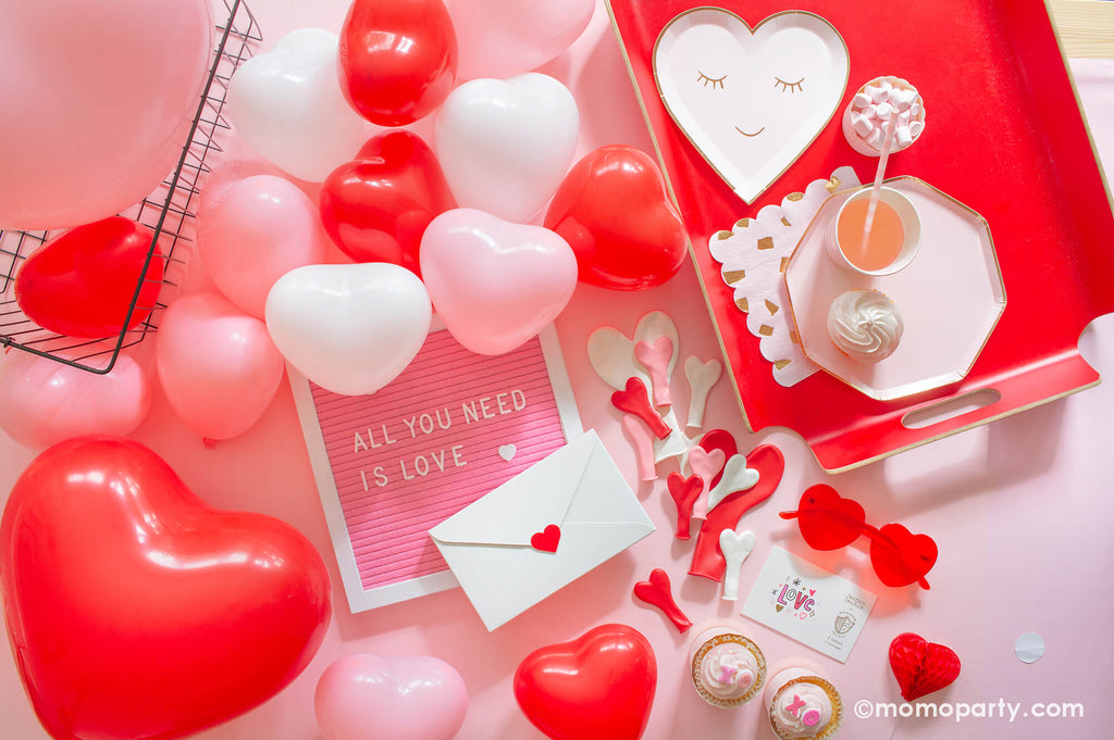 Valentine's Day Galentine's Day Set Up with Heart shaped balloons by Momo Party.jpg