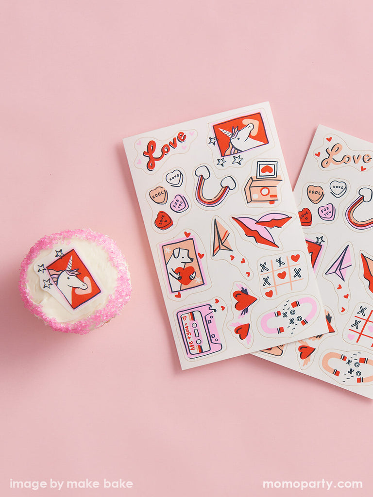 Valentine's Day Treats Sweets Ideas by Momo Party featuring decorating stickers
