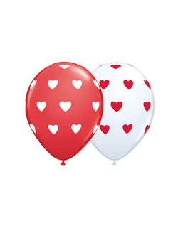 Qualatex 11'-Big-Heart-Latex-Balloon-Mix-in-Red-and-White for Valentine's Day Celebration