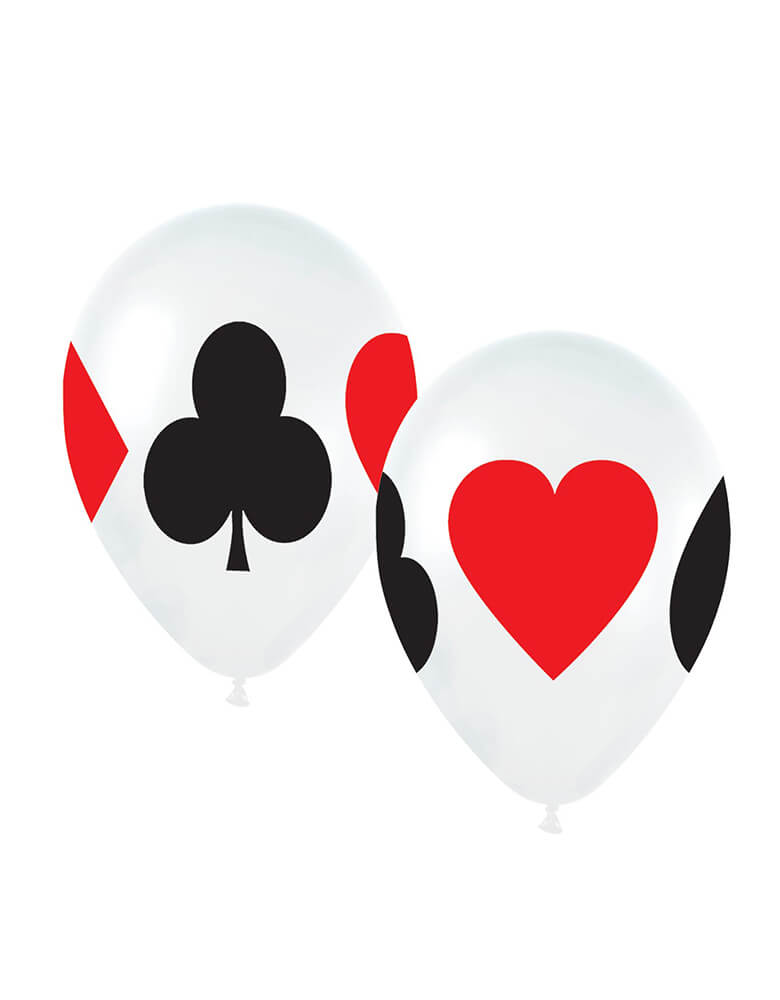 "Betallic 11"" Card Suits Latex Balloons with designs of spade, heart, diamond and club on them"