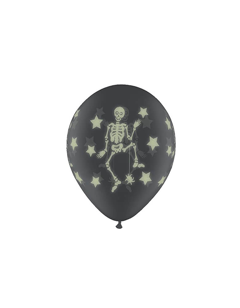 Glow Skeletons On Clear Printed Latex Balloon Mix (Set of 6)