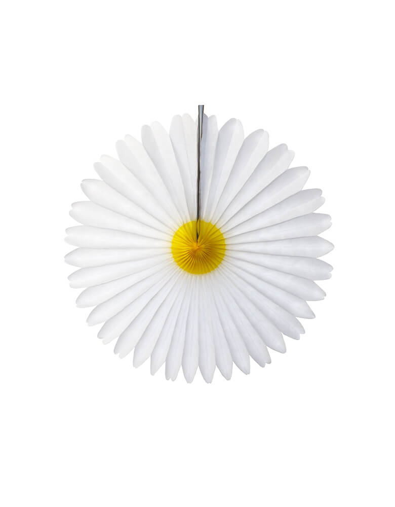 Devra Party - 13 inches Daisy Flower Fan Decoration. Paper made in USA. Create a festive backdrop for baby showers, weddings or Easter parties with this gorgeous daisy paper fan decoration.