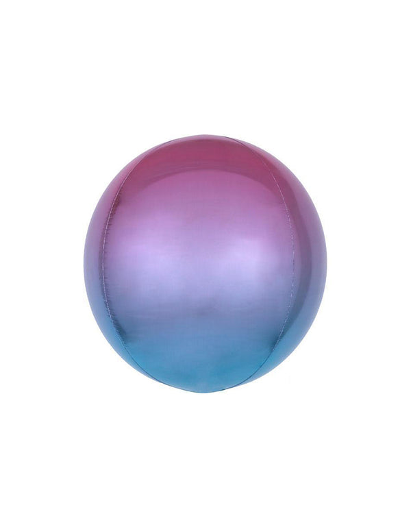 "15"" Anagram Ombre Orbz Pink Blue and Purple Foil Balloon"