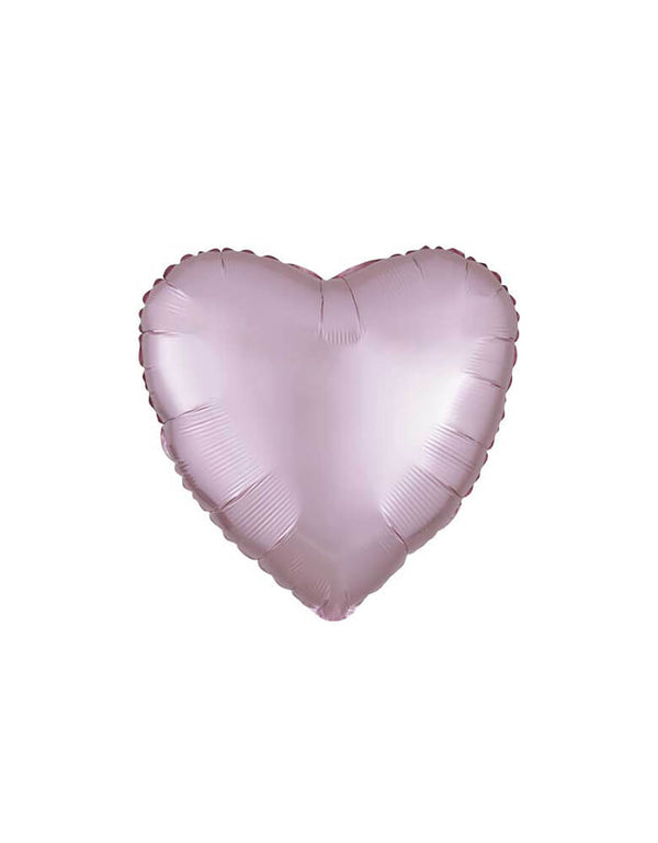 "Anagram 19"" Junior Pastel Pink Satin Luxe Heart Shaped Foil Balloon for Valentines Day"