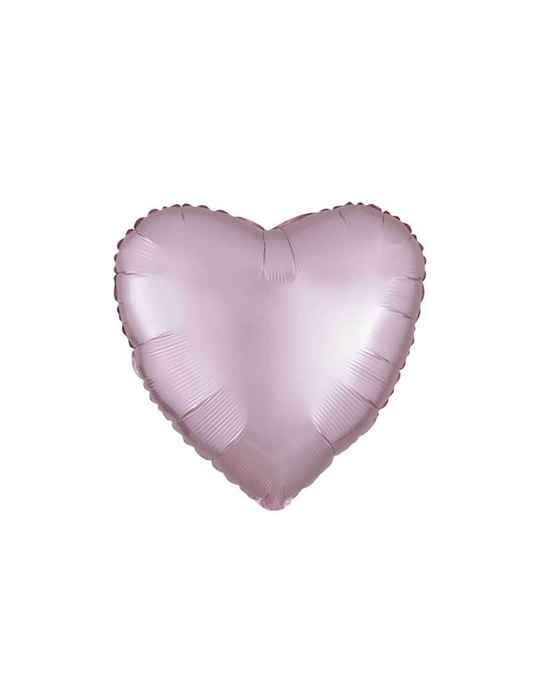 "Anagram 17"" Junior Pastel Pink Satin Luxe Heart Shaped Foil Balloon for Valentines Day"