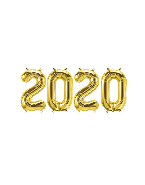 "Northstar 16"" 2020 Letter Gold Mylar Balloon Set"
