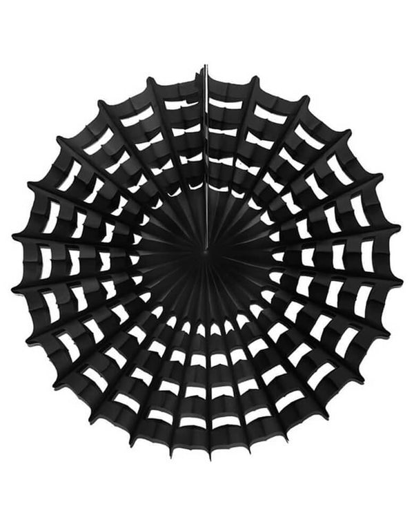 Devra Party Web Pinwheel paper fan decoration in Black, 27 inch, Made in the USA. This paper fan is made from high quality tissue paper and have a looped hanging string attached, is the perfect addition to your event decor, cake table background, or photo backdrop. Hang them from the ceiling, or attach them to your wall. With the modern unique designed web shape, perfect decoration for a Halloween party, trick-or-treat Halloween party, Witch Party, Haunted House Birthday Party