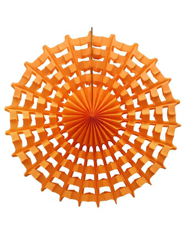 Devra Party Web Pinwheel paper fan decoration in Orange, 27 inch, Made in the USA. This paper fan is made from high quality tissue paper and have a looped hanging string attached, is the perfect addition to your event decor, cake table background, or photo backdrop. Hang them from the ceiling, or attach them to your wall. With the modern unique designed web shape, perfect decoration for a Halloween party, Spooky Halloween party, hocus pocus party, trick-or-treat Halloween party, Witch Party